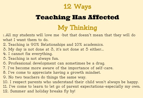 12 Ways Teaching Has Affected My Thinking